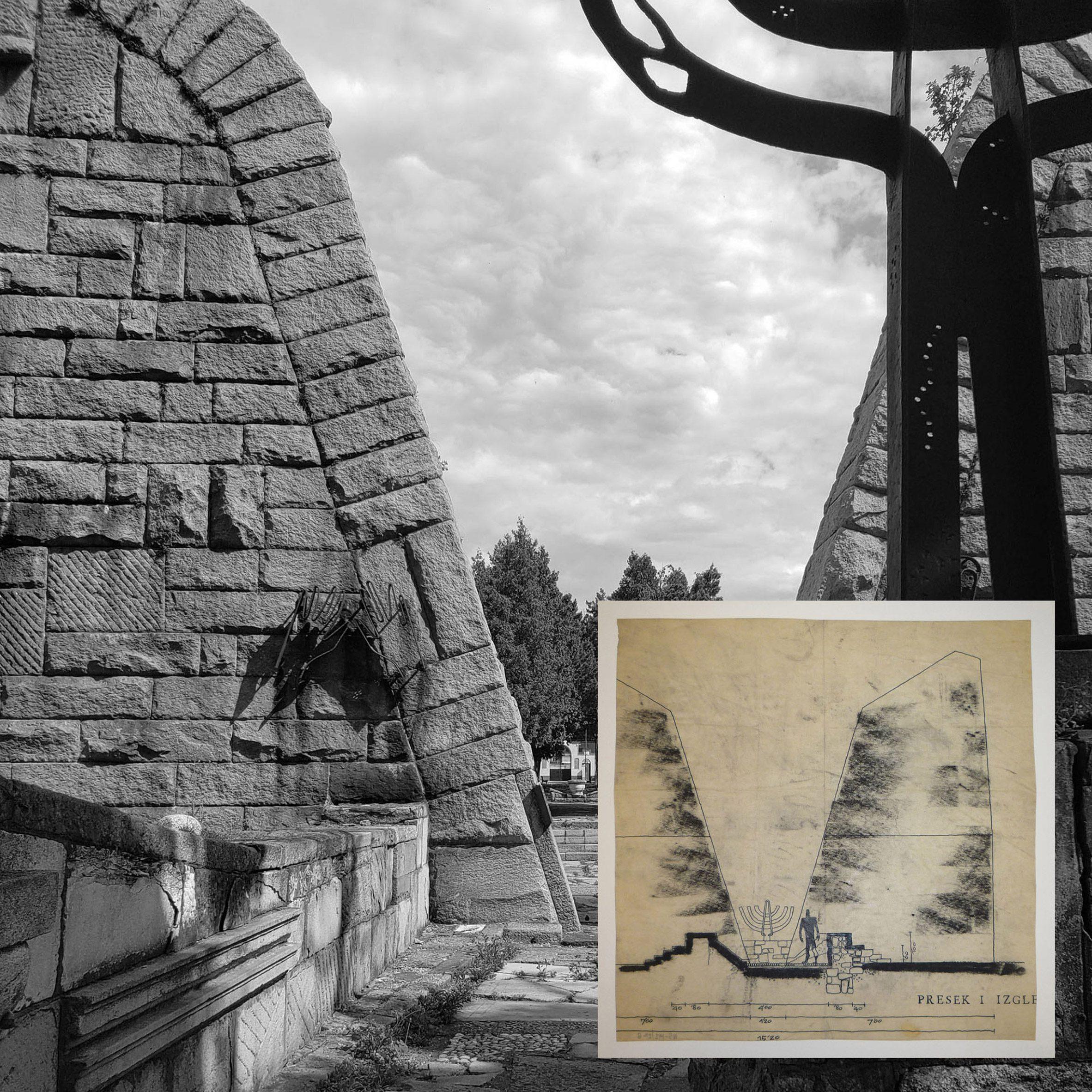 A photograph and drawing of buildings by Bogdan Bogdanović