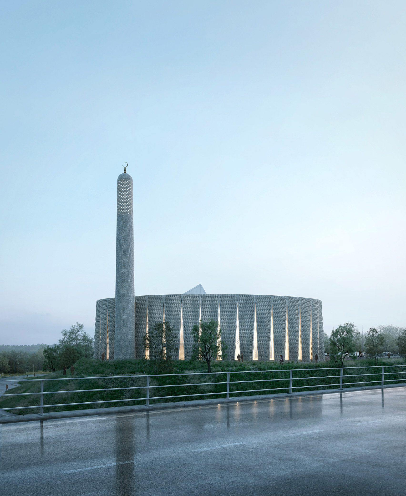 A render of a circular mosque in Preston