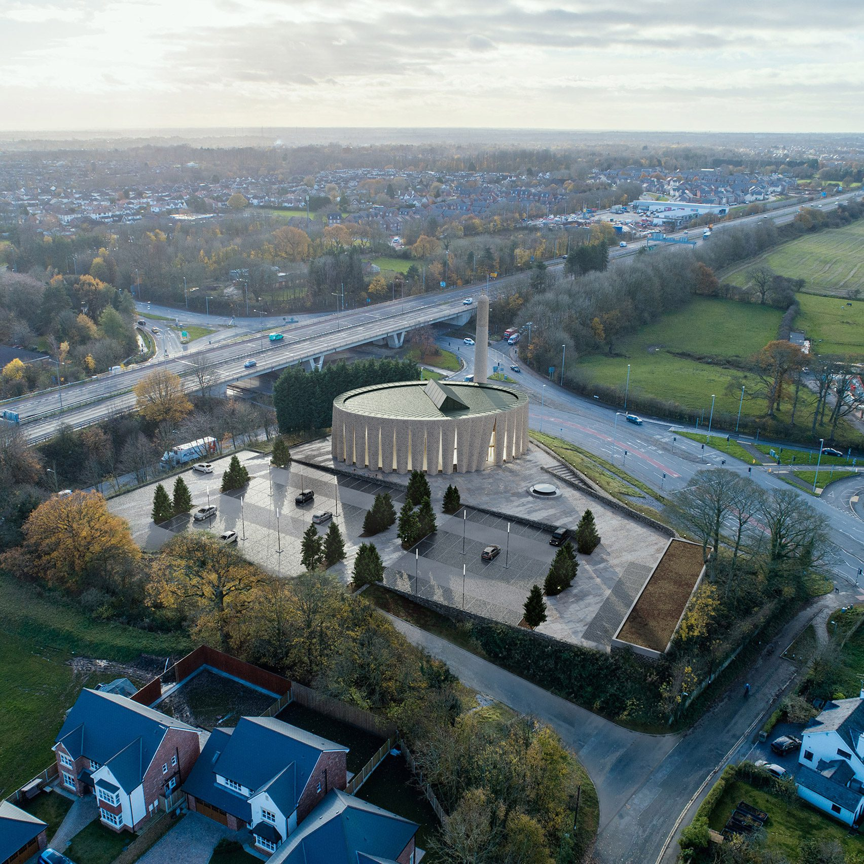 An aerial view of a mosque in Preston