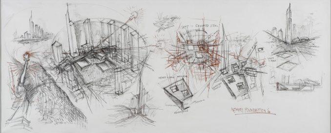Daniel Libeskind's concept sketch of Ground Zero