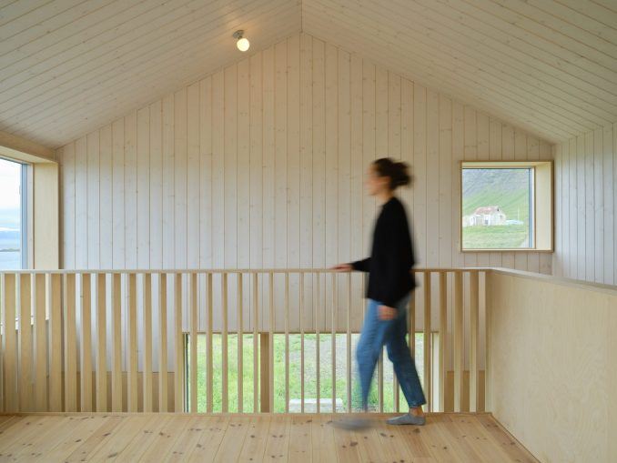 The wood-lined interiors of an Icelandic holiday home