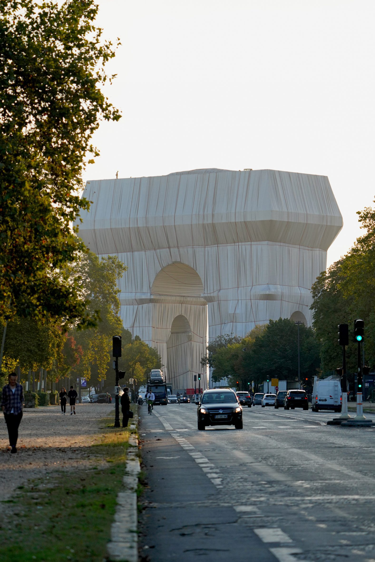 The Arch de Triomphe covered in fabric