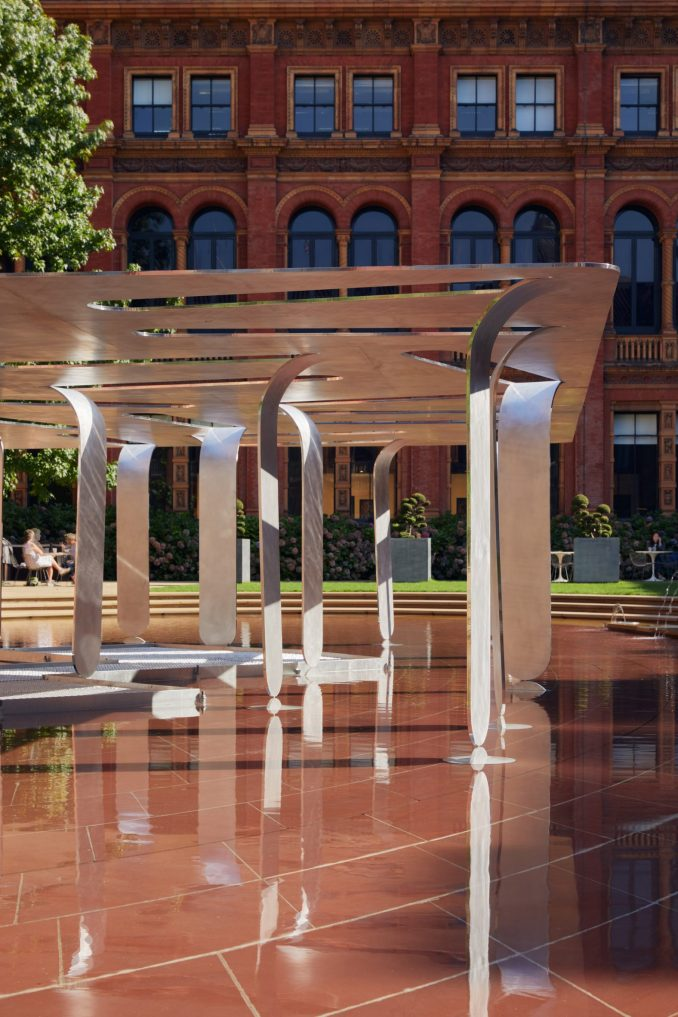 Aluminium pavilion on pond at the V&A museum
