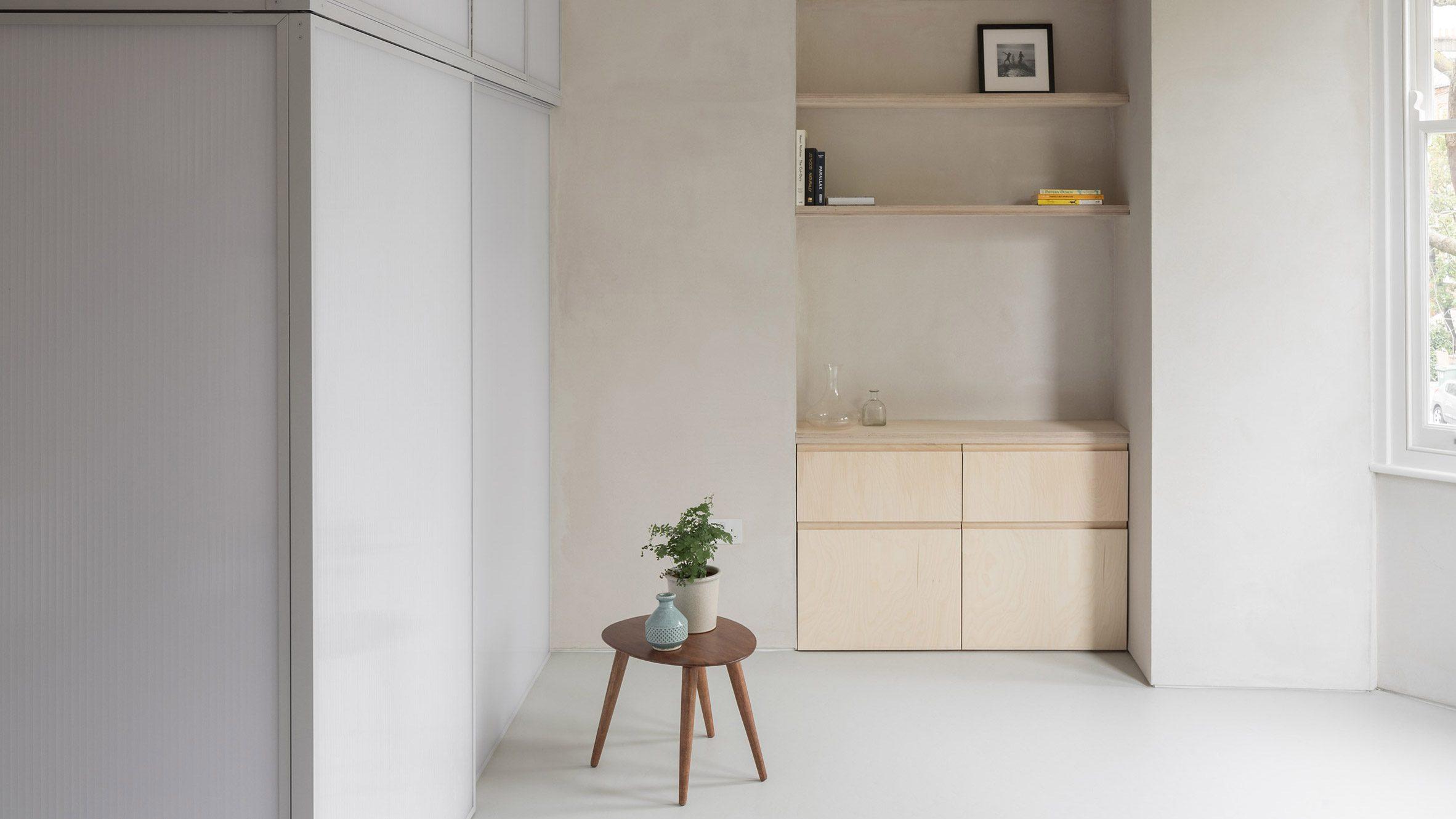Minimal interiors of The sleeping area of Shoji Apartment