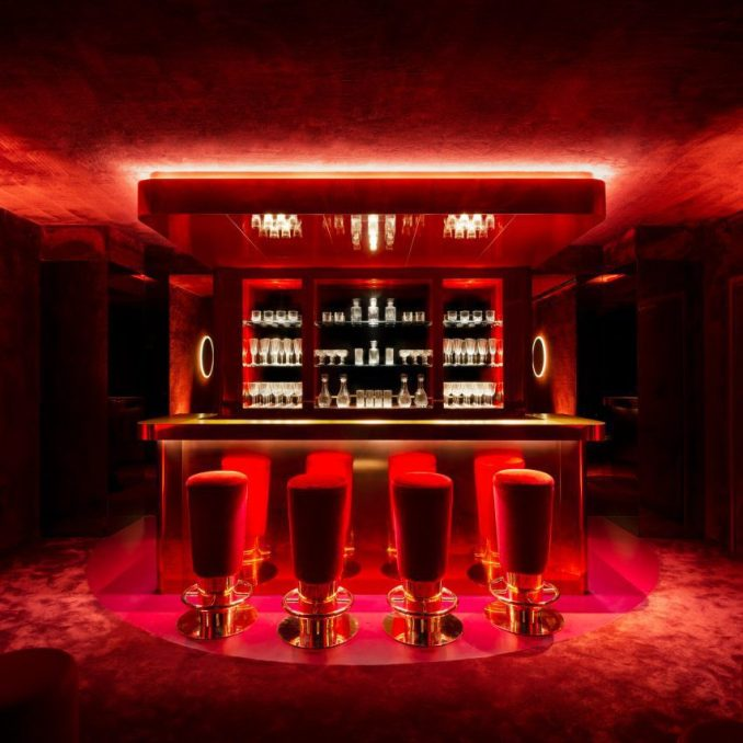 Red carpeted bar in Ninja Theory office
