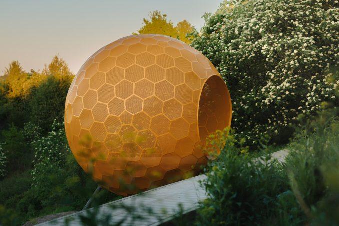 An orange sphere in Vårbergstoppen