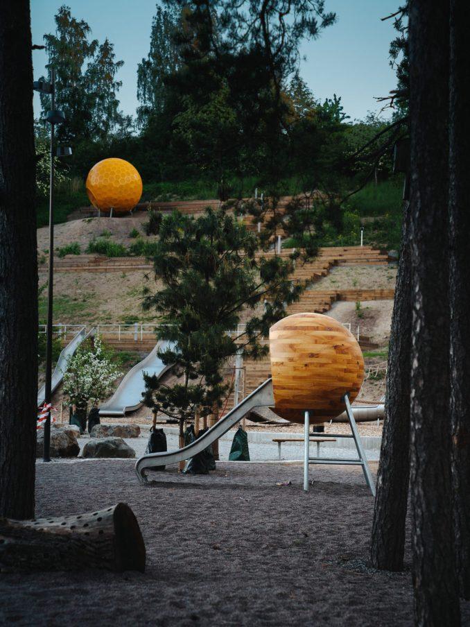 A slide installation inside Vårbergstoppen park