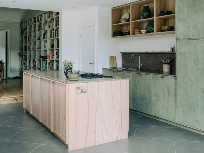 Stained plywood kitchen