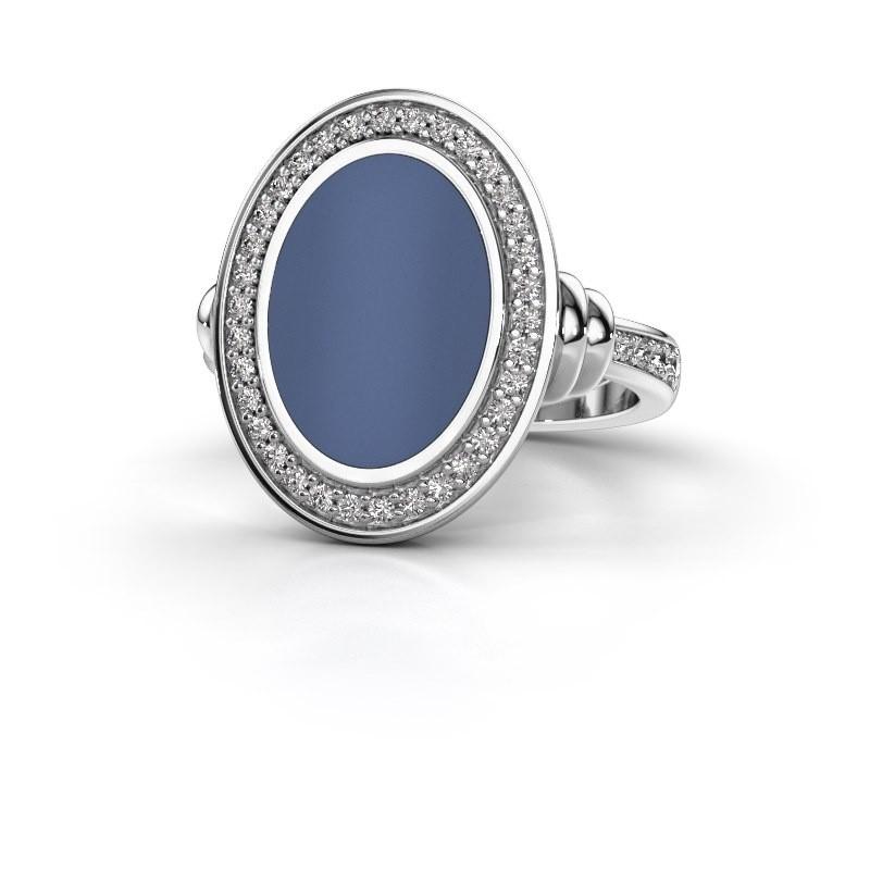 Ovale Silber Blau Lagenstein Servie Herrenring selbst