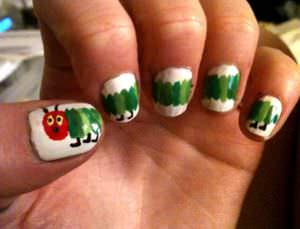 Nail Art Inspired By The Children S Book Very Hungry Caterpillar