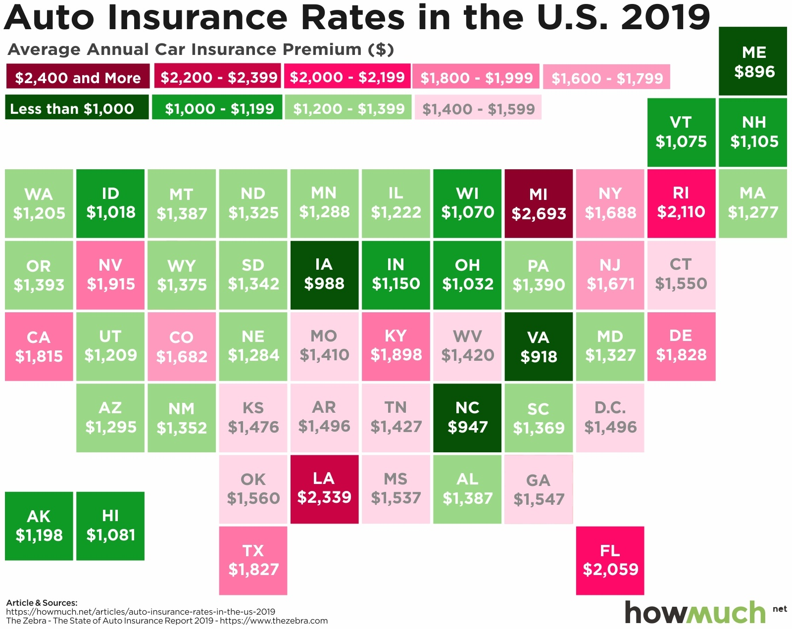 The Average Cost Of Auto Insurance Mapped By State  Digg