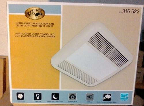 hampton bay bathroom vent fan with