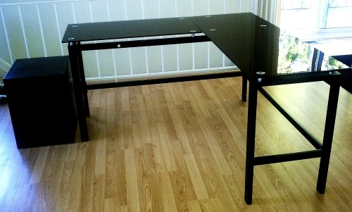 NEW Black Saunder Lake Point L DeskTempered Glass Desk