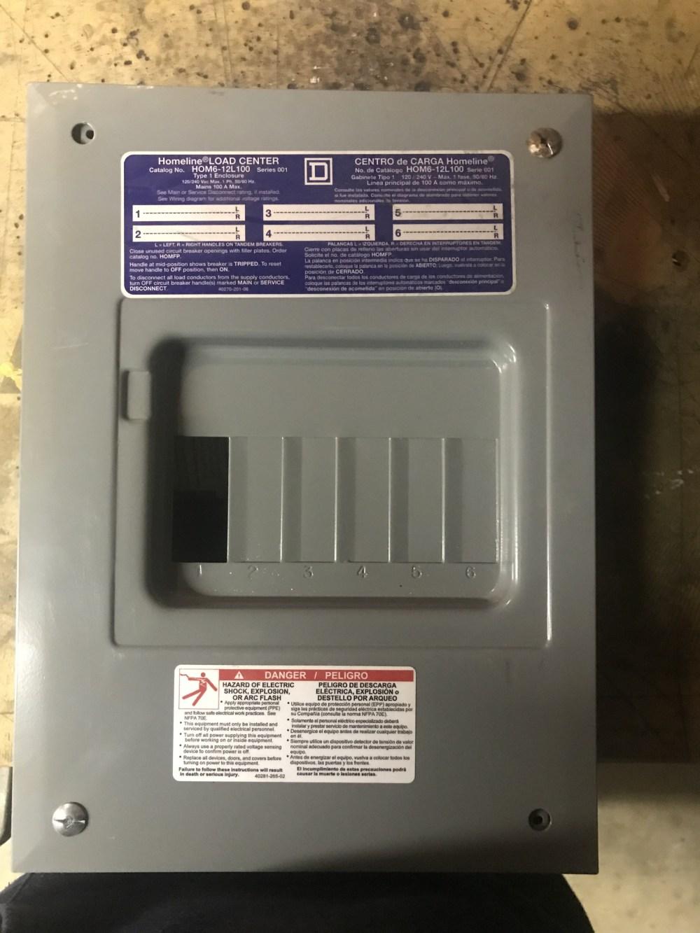 medium resolution of 125 amp sub panel 50