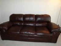 Simmons Mahogany Leather Sofa | DiggersList