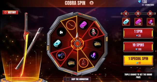 The Cobra Spin in Garena Free Fire gives players the chance to win the Legendary Cora Skin Katana