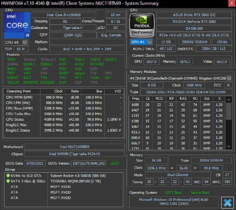 Intel NUC 11 Extreme Specifications