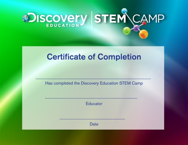 Stem Camp Completion Certificate