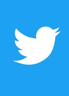 White Twitter Logo : white, twitter, Twitter, White, Blue', Metal, Poster, Print, Displate
