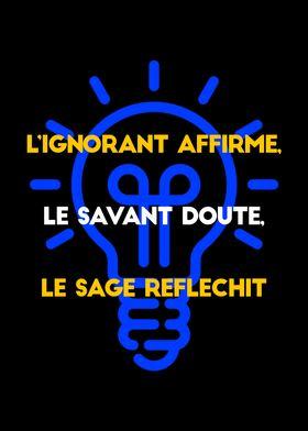 L'ignorant Affirme Le Savant Doute Le Sage Réfléchit : l'ignorant, affirme, savant, doute, réfléchit, Xeeko, Merch, Shop:, Posters, Prints, Displate