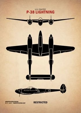 P-38 Lightning : lightning, Lightning, Poster', Poster, Print, RogueDesign, Displate