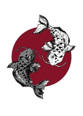 Koi Fish Circle : circle, Poster, Print, Dorima, Displate