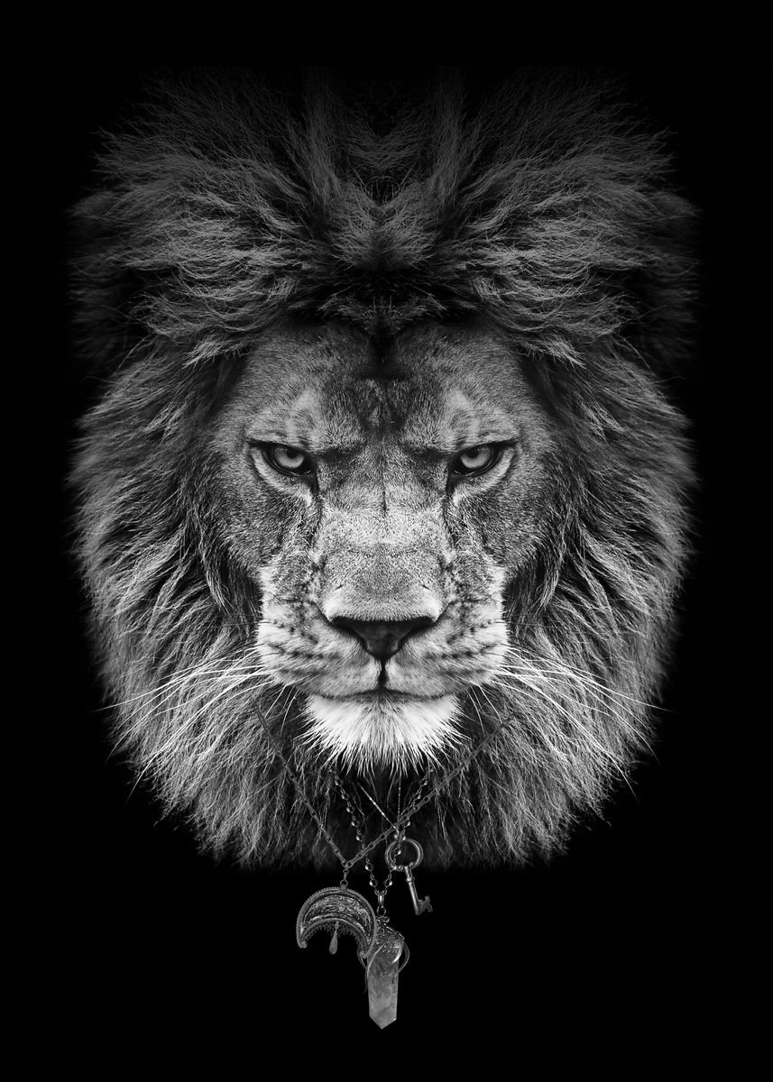 Lion Head Black And White Poster Print By Mk5 Studio Displate