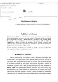 Raisonnement Par L'absurde Exemple Littéraire : raisonnement, l'absurde, exemple, littéraire, Albert, Camus, L'Absurde, Docsity