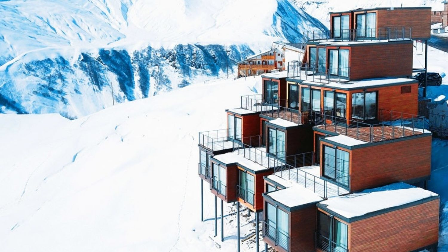 Quadrum Ski and Yoga Resort is located 2200 metres above sea level in the Caucasus mountain range in Georgia.