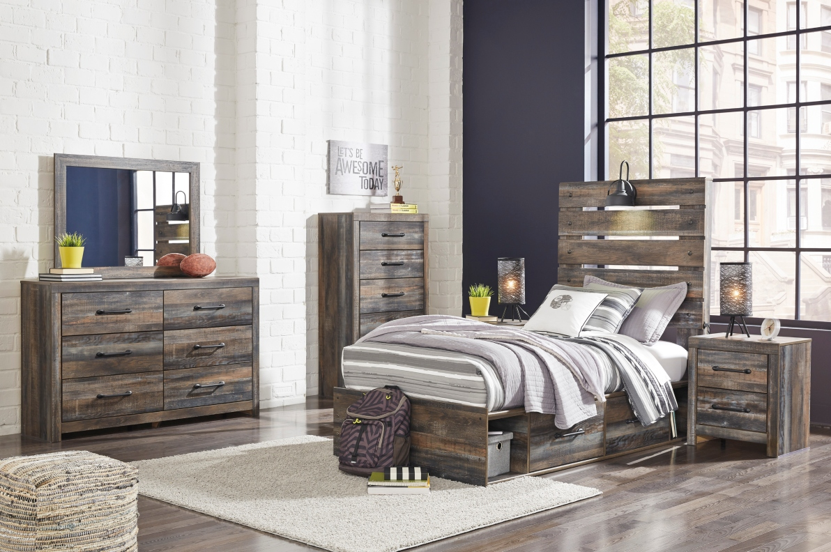 ashley drystan twin size bedroom set storage bed