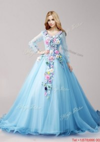 Classical V Neck Long Sleeves Baby Blue Quinceanera ...
