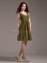 Olive Green Bridesmaid Dresses Straps Knee-length - US$87.58