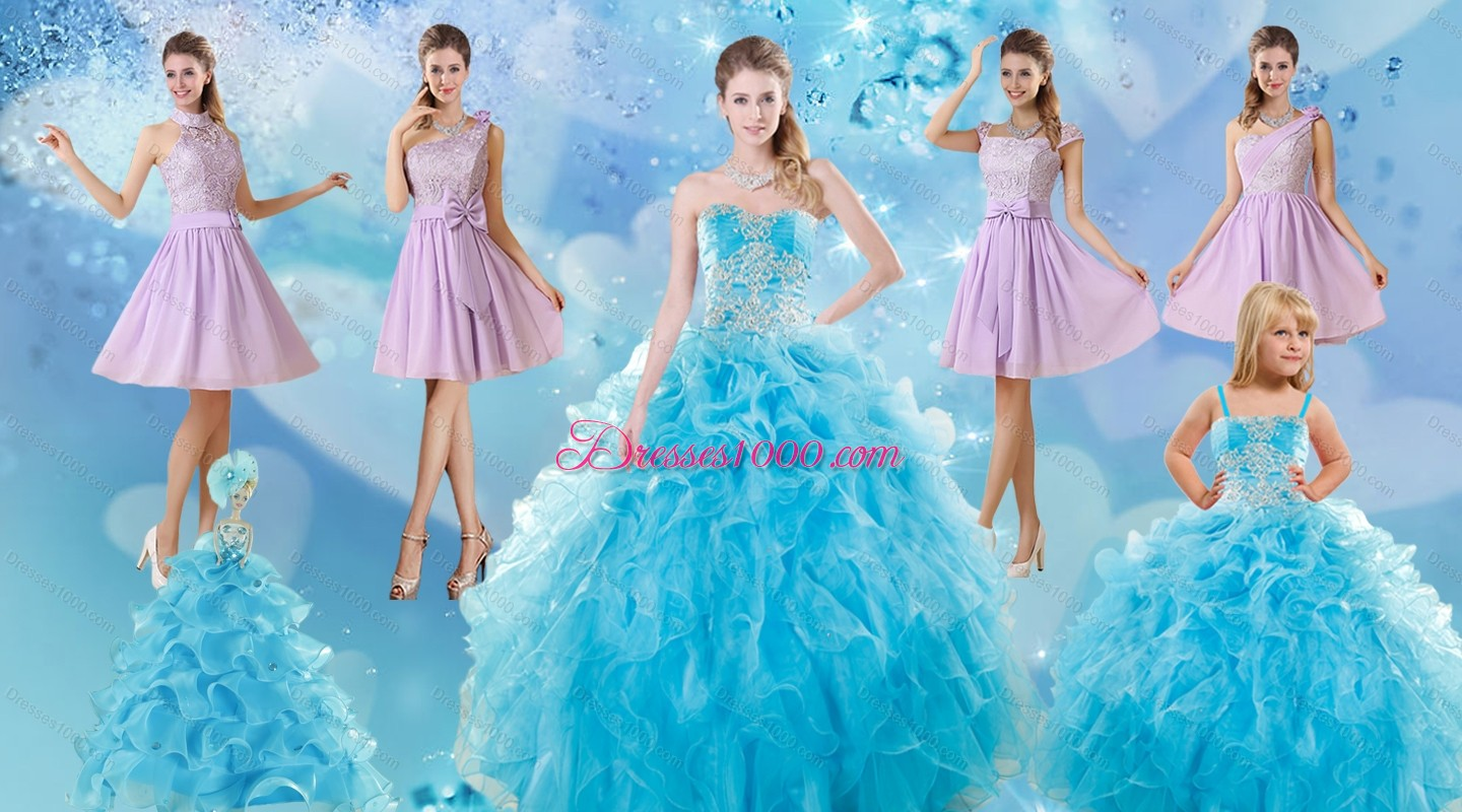 Baby Blue Ball Gown Ruffles Quinceanera Dress And Lilac