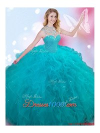 New See Through High Neck Beaded and Ruffled Teal Sweet 16