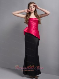 Hot Pink and Black Bridesmaid Dress Ankle-length - US$138.58