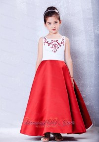White and Red Embroidery Baby Girl Pageant Dresses - US$105.20