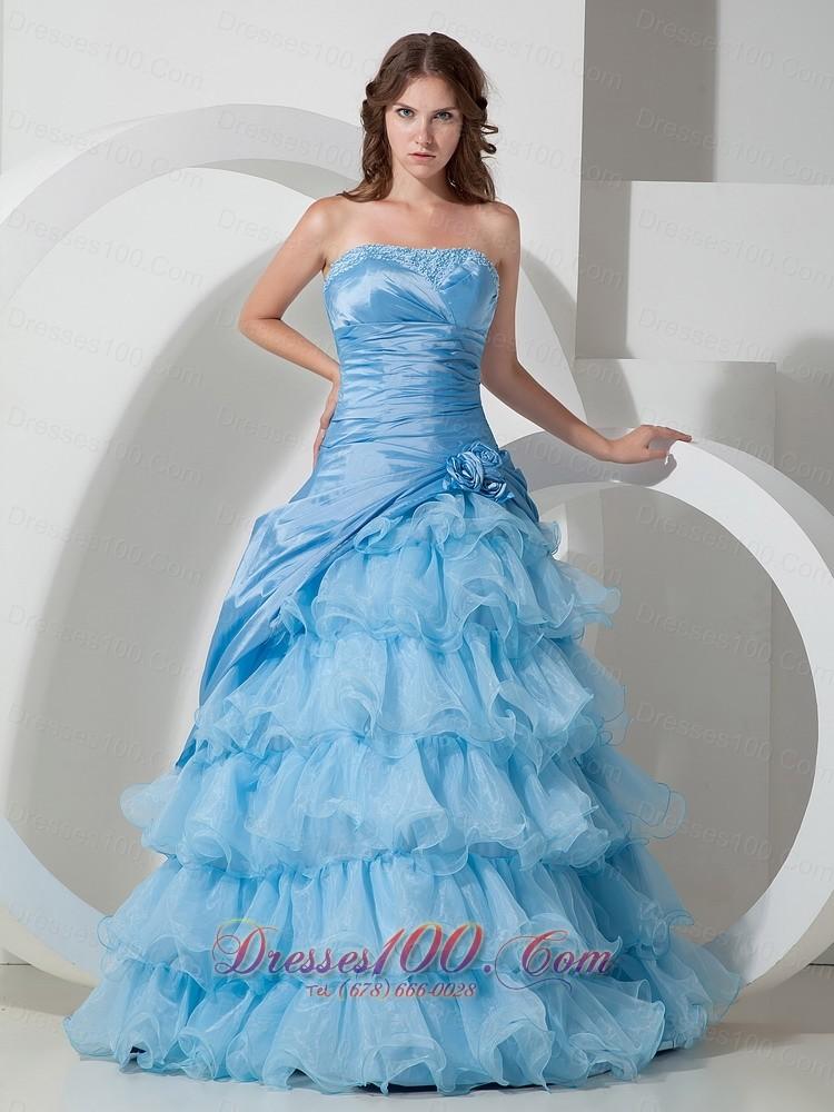 Baby Blue Organza layered Ruffles Prom Dress  US16978