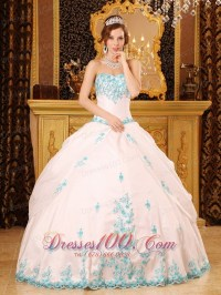 White Sky Blue Strapless Sweet 15 Dress Embroidery - US$178.98