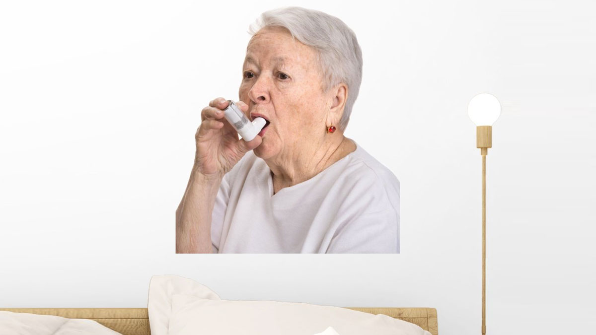 Senior Woman with Asthma Wall Mural  DudeIWantThatcom