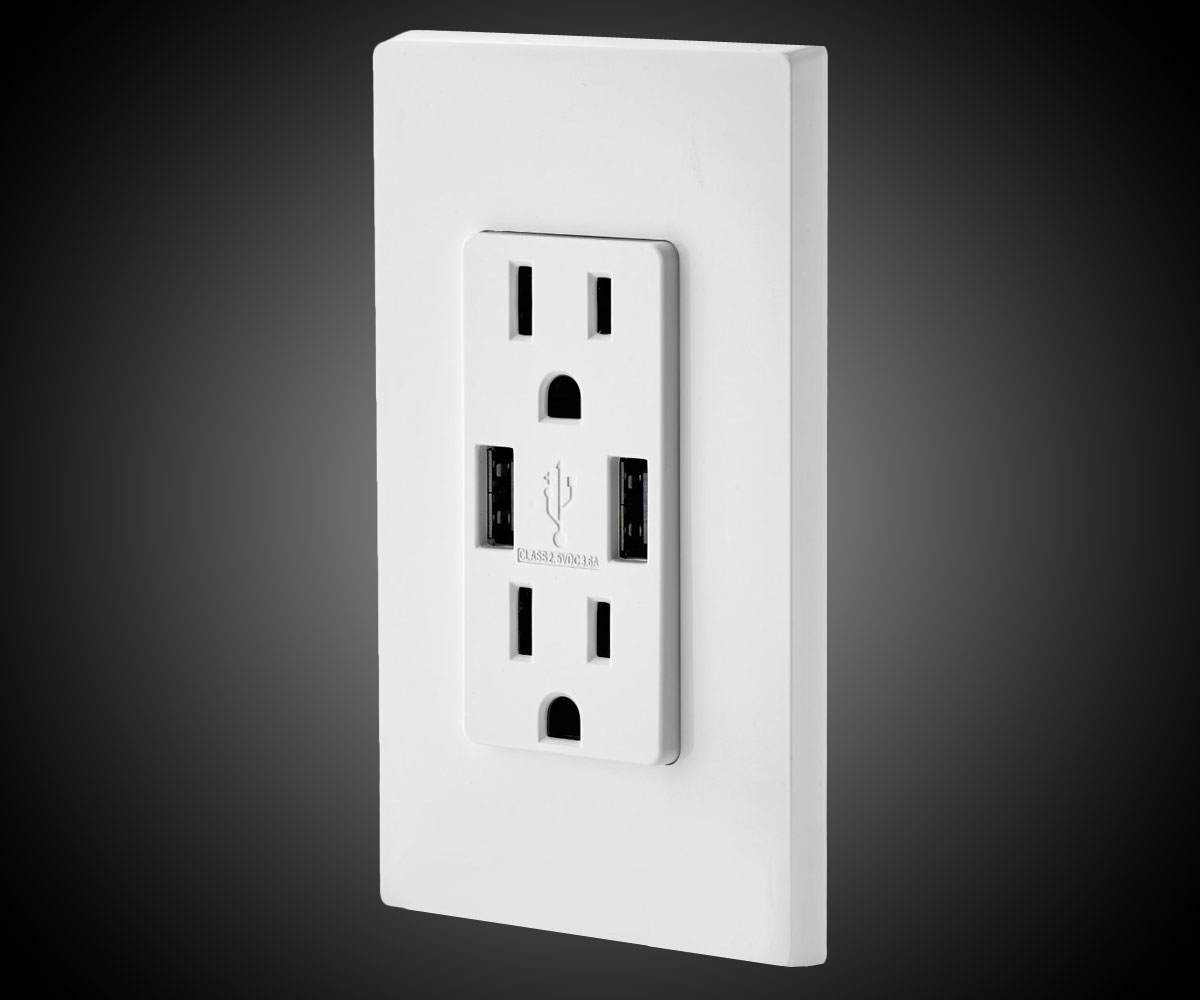 Power Outlet with Dual USB Ports  DudeIWantThatcom
