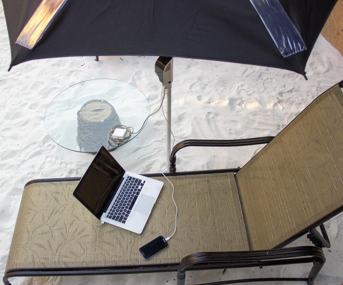 PowerShade SolarPowered Beach Umbrella  DudeIWantThatcom