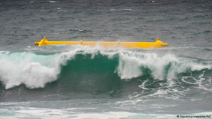 A device rides a wave at the Orkney wave energy testing site in Billia Croo