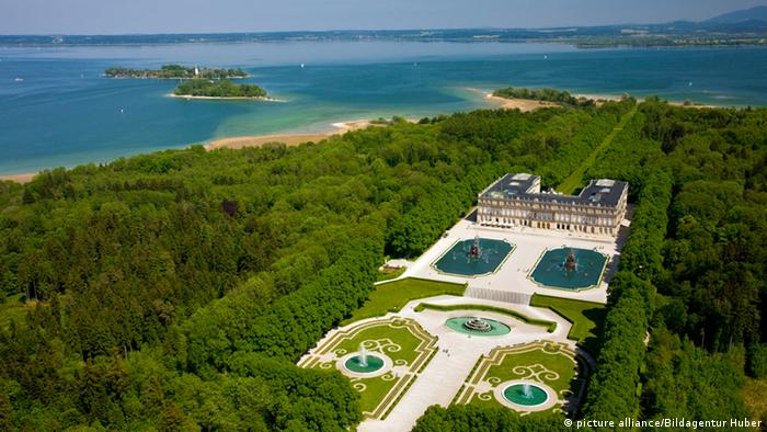 Aerial view of the New Palace and the Chiemsee lake, Bavaria, Germany