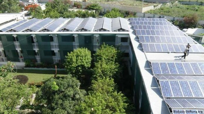 Children's hospital in Haiti with solar panels covering the roof