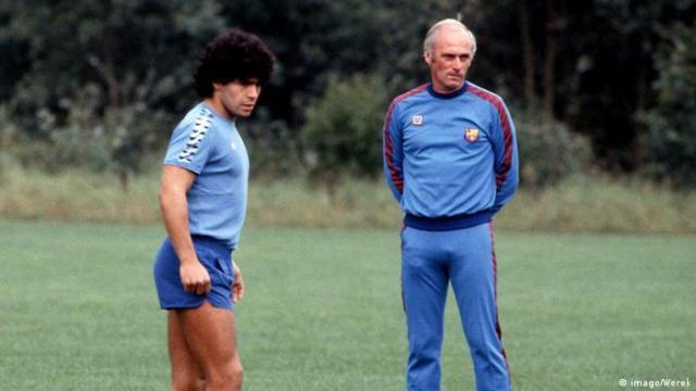 Udo Lattek with Diego Armando Maradona