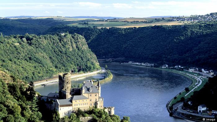 Aerial view of the bend in the river Rhine where the Loreley Rock is located, Germany