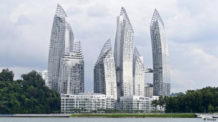 Daniel Libeskind buildings shine in Keppel Bay, Singapore.