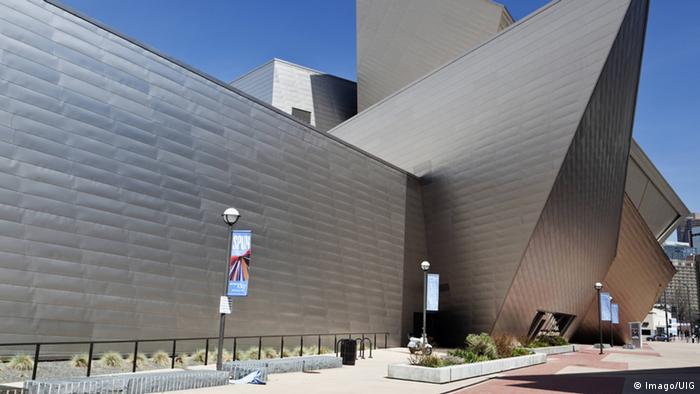 The angular side and entrance of the Denver Art Museum.