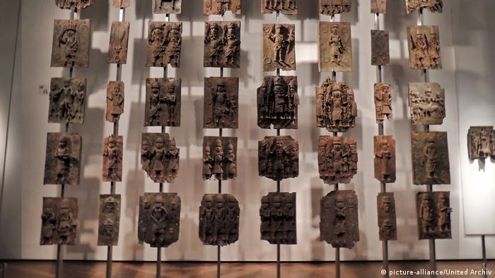 Benin Bronzes on display at a museum