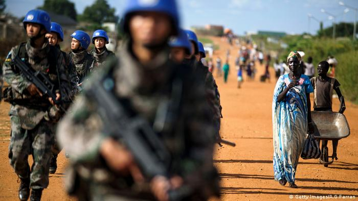 Chinese peacekeeping troops deployed by the United Nations Mission in South Sudan